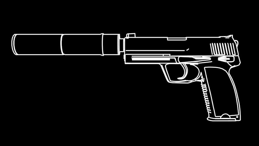 Рисунки пистолета с глушителем